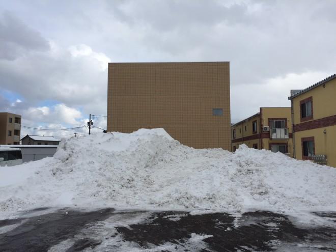 「店の裏の雪山です。もう少し高くなったらミニスキーが出来そうです(笑)」